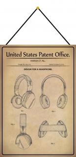 Blechschild Patent Entwurf für Kopfhörer Metallschild Deko 20 x 30 m.Kordel