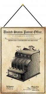 Blechschild Patent Entwurf für eine Registerkasse Metallschild 20 x 30 m.Kordel