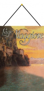 Blechschild Nostalgie Lago Maggiore Metallschild Wanddeko 20x30 mit Kordel