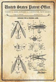 US Patent Office - Design for a Fishing Lure - Entwurf für einen Fischköder - gere, Carpenter - 1936 - Design No 1.589065 - Blechschild