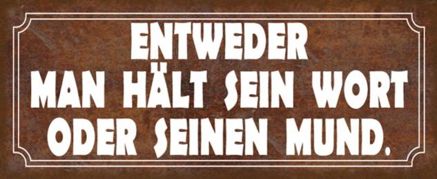 Blechschild Spruch hält Wort oder Mund Metallschild 27x10 cm Wanddeko tin sign