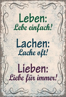 BlechschildSpruch Leben, Lache, Liebe Metallschild Wanddeko 20x30 cm tin sign