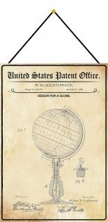 Blechschild Patent Entwurf für einen Globus Metallschild Deko 20 x 30 m.Kordel