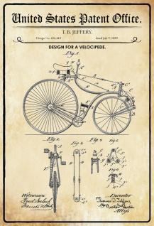 Blechschild Patent Entwurf für Velocipede- Fahrrad Metallschild Wanddeko 20x30 cm tin sign