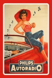 Philips transistor radio reklame mit frau blechschild