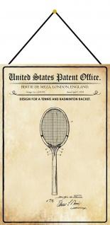 Blechschild Patent Entwurf für einen Badminton Schläger Deko 20 x 30 m.Kordel