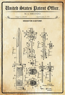 US Patent Office - Design for A Bayonet- Entwurf für Bajonett - Mirando 1955 - Design No 2.728.159 - Blechschild