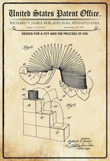 Blechschild Patent Entwurf Springspirale- Spielzeug Metallschild Wanddeko 20x30 cm tin sign