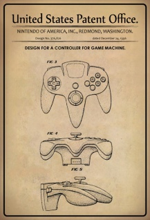 US Patent Office - Design for A Controller for a Game Machine - Entwurf für einen Spielconsole Kontroller - Nintendo, Washington, 1996 - Design No 376.826 - Blechschild