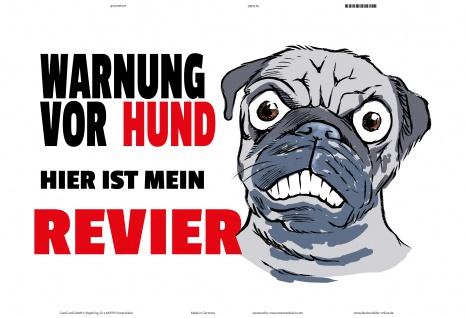 Blechschild Warnung vor Hund hier mein Revier Metallschild Deko 20x30 tin sign