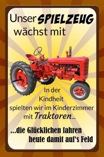 Blechschild Spruch Traktor unser Spielzeug wächst mich Metallschild Wanddeko 20x30 cm tin sign