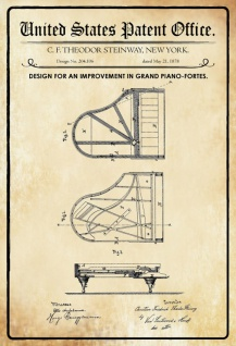 US Patent Office - Design for an Improvement in Pianofortes - Entwurf für eine verbesserung des Klavier - Steinway - 1878 - Design No 204106 - Blechschild