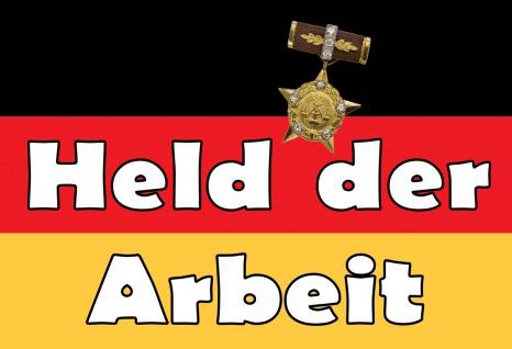 Blechschild Nostalgie DDR Held der Arbeit Metallschild 20x30 Deko tin sign