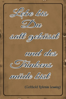 Blechschild Spruch Lebe bis du satt geküsst und des Trinkens müde Metallschild Wanddeko 20x30 cm tin sign