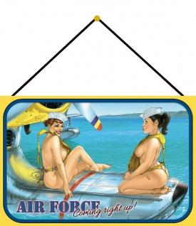 Blechschild Pinup Military Girl Luftwaffe Wasser Flugzeug Deko 20x30 mit Kordel