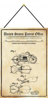 Blechschild Patent Entwurf für einen Motorradsattel Metallschild 20 x 30 Kordel