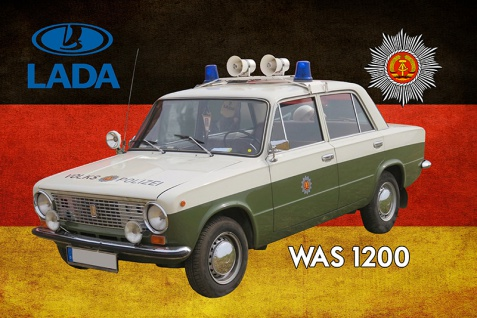 Blechschild Polizei Auto DDR Lada WAS 1200 Volkspolizei Metallschild Wanddeko 20x30 cm tin sign