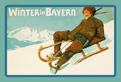 Nostalgie: Winter in Bayern (Schlitten) Blechschild 20x30 cm