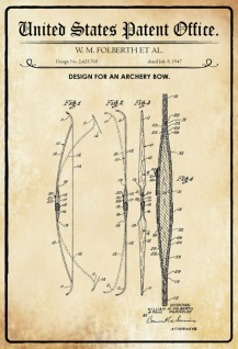 US Patent Office - Design for an Archery Bow - Entwurf für ein Pfeilbogen - Folberth, 1947 - Design No 2.423.765 - Blechschild