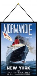 Blechschild Nostalgie Dampfschiff Normandie Metallschild Deko 20x30 cm m.Kordel