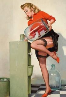 Nostalgie Pin up sexy Frau mit Wasserspender Blechschild 20x30cm