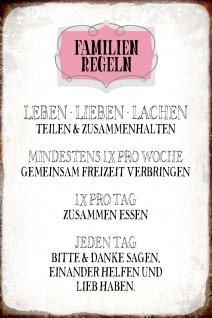 Blechschild Spruch Familien Regeln Metallschild Wanddeko 20x30 cm tin sign