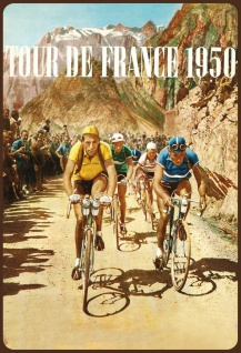 Blechschild Retro Tour de France 1950 Metallschild Wanddeko 20x30cm tin sign
