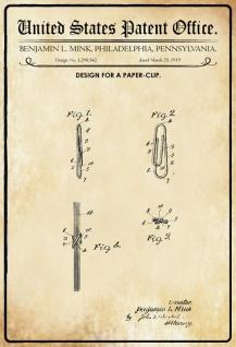 Blechschild Patent Entwurf für Büroklammer-Mink Metallschild Wanddeko 20x30 cm tin sign