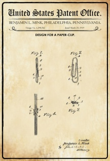 US Patent Office - Design for A Paper Clip - Entwurf für ein Büroklammer - Mink, Pennsylvania, 1919 - Design No 1.298.542 - Blechschild