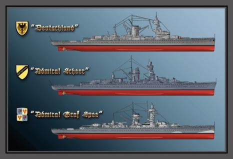 Kriegschiff Deutschland, Scheer, Spee, boot blechschild - Vorschau