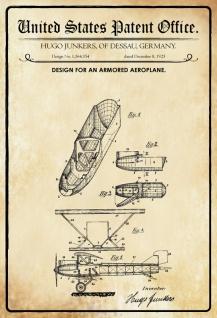 US Patent Office - Design for an Armored Aeroplane - Entwurf für ein gepanzertes Flugzeug - Junkers Germany 1925 - Design No 1.564.354 - Blechschild