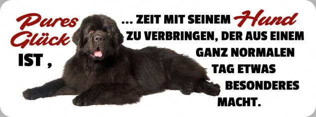 Blechschild Spruch Glück = Zeit mit seinem Hund Metallschild 27x10 cm Wanddeko tin sign