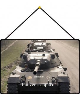 Blechschild Panzer Leopard I Metallschild Wanddeko 20x30 mit Kordel