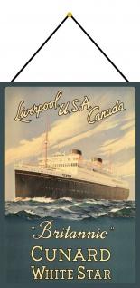 Blechschild Nostalgie Steamship Britannic Metallschild Deko 20x30 mit Kordel