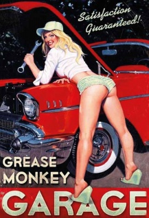 Grease Monkey Garage pinup pin up sexy frau auto reparatur oldtimer blechschild