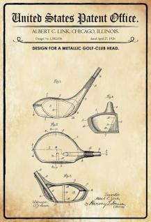 Blechschild Patent Entwurf für einen Golf-Club- Kopf Metallschild Wanddeko 20x30 cm tin sign