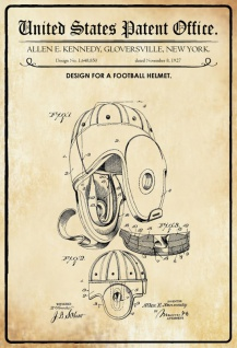US Patent Office - Design for a football Helmet - Entwurf für einen Fußball Helm - Kennedy - Design No 1.6483850 - 1927 - Blechschild