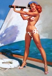 Nostalgie Pin up sexy Frau auf Yacht mit Fernglas Blechschild
