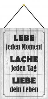 Blechschild Spruch Lebe - Lache - Liebe graues Metallschild 20x30 mit Kordel