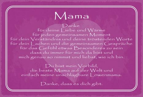 Blechschild Spruch Danke Mama Metallschild Wanddeko 20x30 cm tin sign