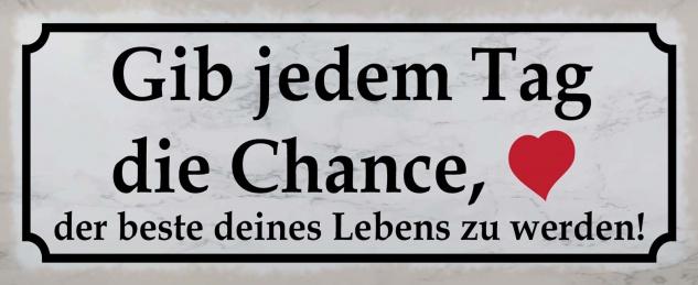 Blechschild Spruch Tag Chance Leben Herz Metallschild 27x10 cm Wanddeko tin sign