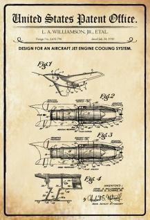 Blechschild Patent Entwurf Flugzeug Motorkühlsystem Metallschild Wanddeko 20x30 cm tin sign