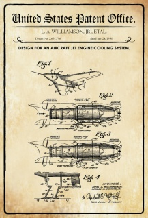 US Patent Office - Design for an Aircraft jet Engine Cooling System - Entwurf für Flugzeug-Jet-Motorkühlsystem - Williamson 1950 - Design No 2.631.796 - Blechschild