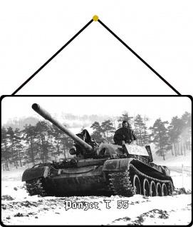 Blechschild Panzer T 55 (im Schnee) Metallschild Wanddeko 20x30 mit Kordel