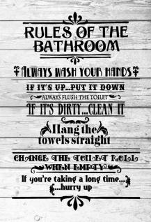 Retro: Rules of the Bathroom Metallschild Wanddeko 20x30 cm tin sign