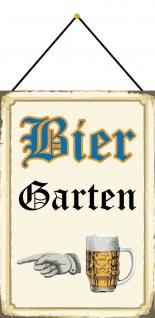 Blechschild Nostalgie Bier Garten beiges Metallschild 20x30 Deko mit Kordel