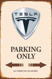 Tesla Parking only blechschild