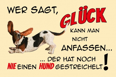 Blechschild Spruch Hundeglück Metallschild Wanddeko 20x30 cm tin sign
