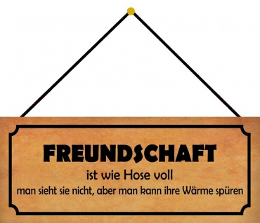 Schatzmix Blechschild Freundschaft ist wie Hose voll Schild Metall 27x10 cm mit Kordel