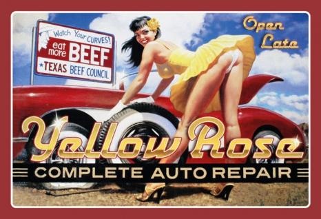 Pin up Yellow Rose Auto Repair Blechschild 20x30 cm